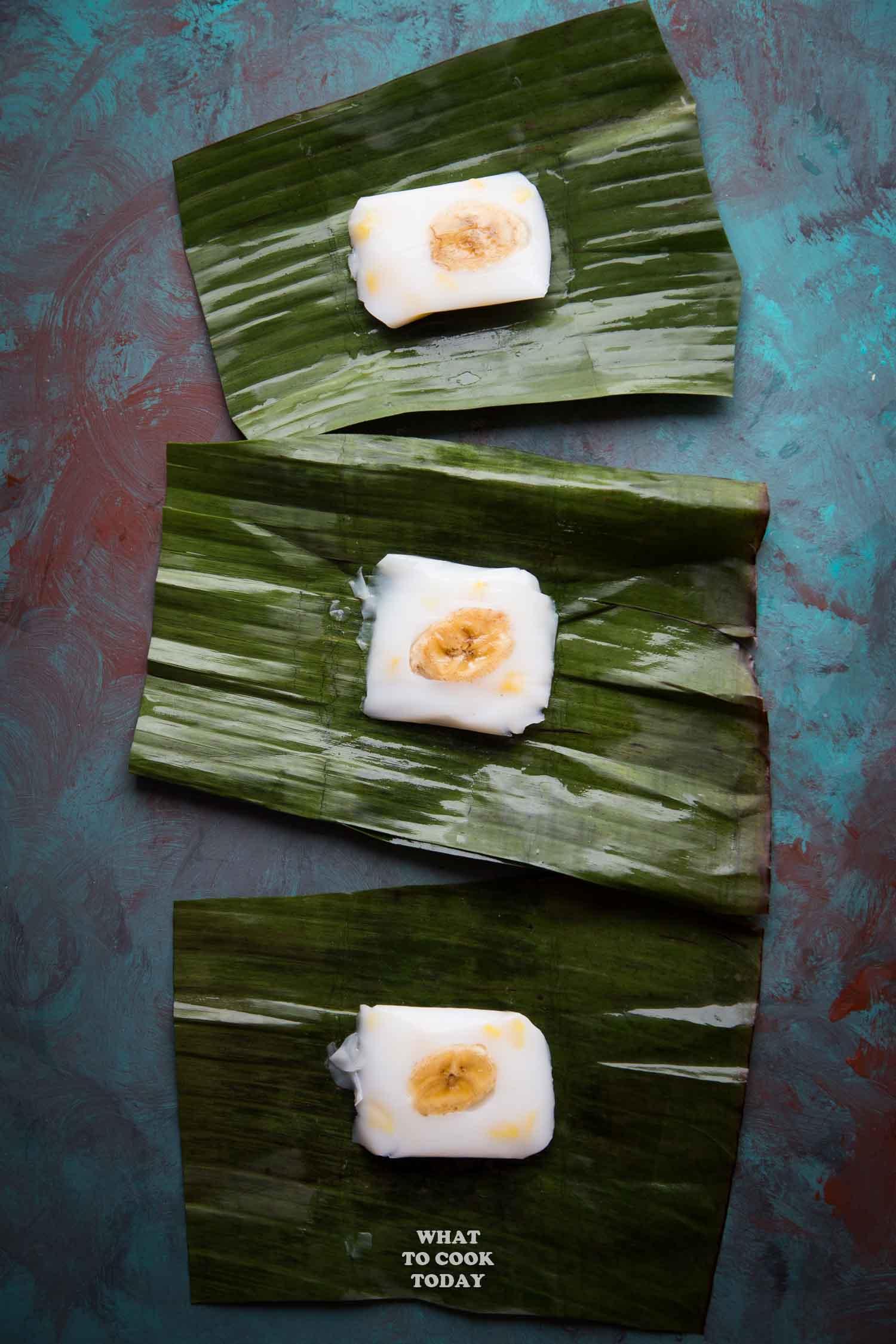 Hun kwe Pisang Nangka (Mung Bean Flour Banana Jackfruit Cake)