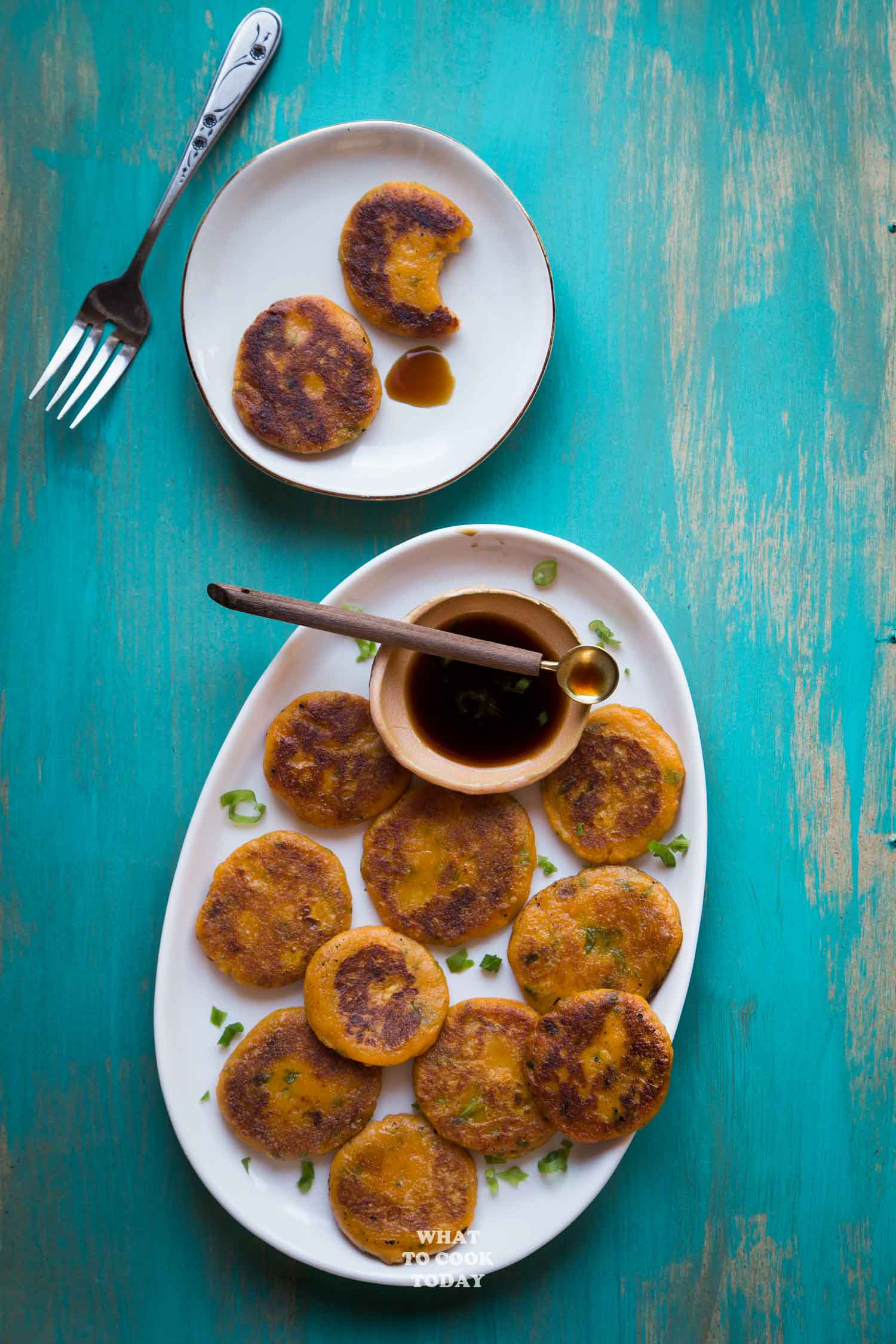Savory Chinese Sweet Potato Pancakes #glutenfree #vegan #easyrecipe #appetizer #snack