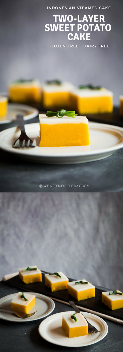 Two-Layer Sweet Potato Cake (Kue Talam Ubi) - Learn how to make this easy classic Indonesian steamed kue talam ubi where a layer of sweet potato mixture and coconut milk are steamed to give you a soft and bouncy cake. Naturally gluten and dairy free.
