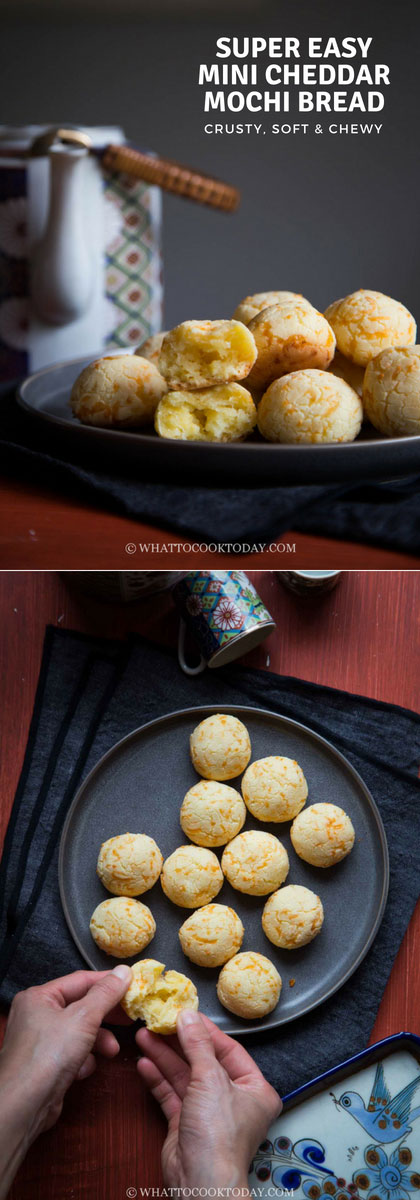 Super Easy Mini Cheddar Mochi Bread - Learn how to make one of the easiest gluten-free, crusty on the outside, soft and chewy on the inside mochi bread. This is truly fuss-free recipe and a big hit in our house.