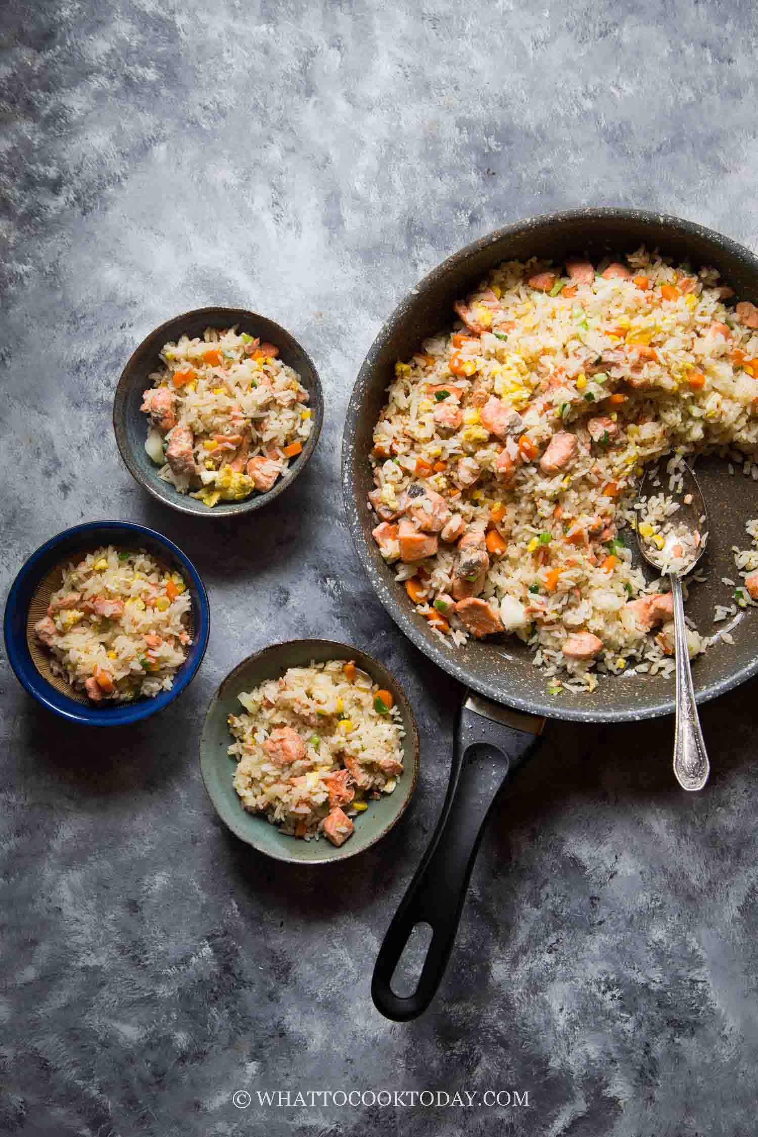 Easy One-Pan Miso Ginger Salmon Fried Rice