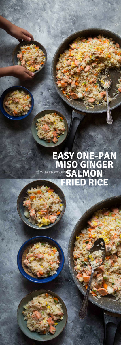 Easy One-Pan Miso Ginger Salmon Fried Rice - Learn how to make super delicious and easy Asian fried rice with salmon marinated in miso paste and ginger along with other vegetables. Perfect for a busy weeknight and great for meal prep too.