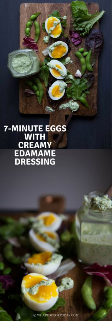 7-Minute Soft-boiled Eggs with Creamy Edamame Dressing