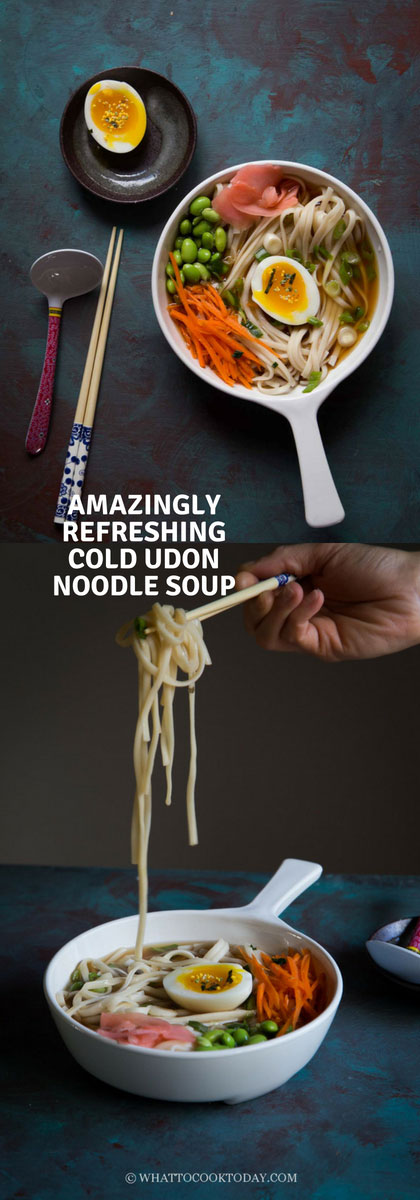 Amazingly Refreshing Cold Udon Noodle Soup - Tame the hot summer days with this refreshing and super easy cold udon noodle soup that you can slurp without breaking a sweat #udon #coldnoodle