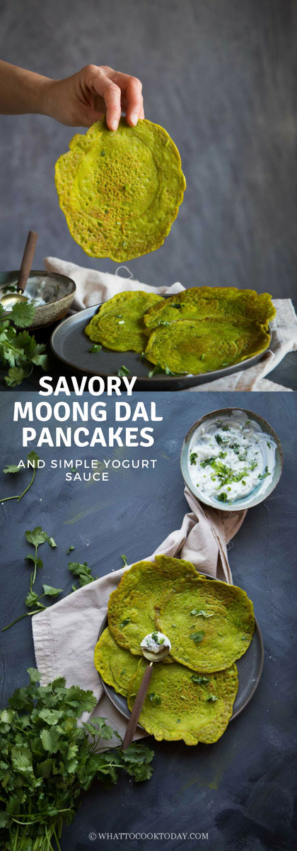 Savory Moong Dal Pancakes and Simple Yogurt Sauce - Learn how to make this simple yet amazingly delicious Indian savory moong dal pancakes that are perfect as a breakfast dish or as an accompaniment to other meals.