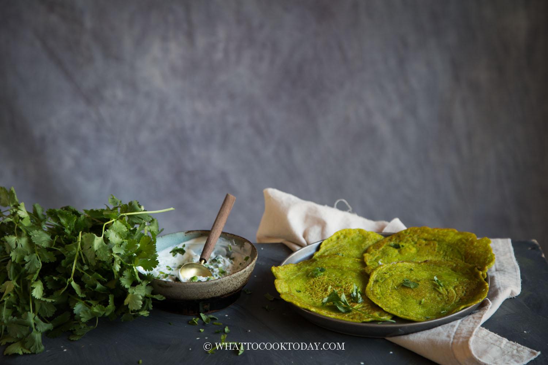Savory Moong Dal Pancakes and Simple Yogurt Sauce