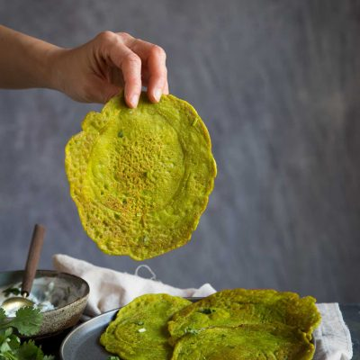 Savory Moong Dal Pancakes and Simple Yogurt Sauce