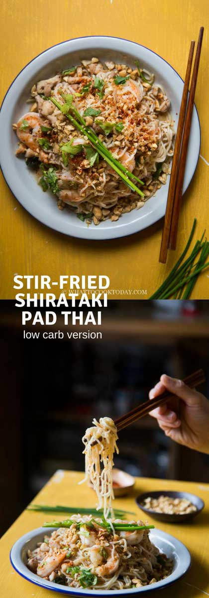 Stir-fried Shirataki Pad Thai is cooked the way the original pad Thai is using essential ingredients typically used in pad Thai but you are in for a low carb version #shirataki #padthai #noodles