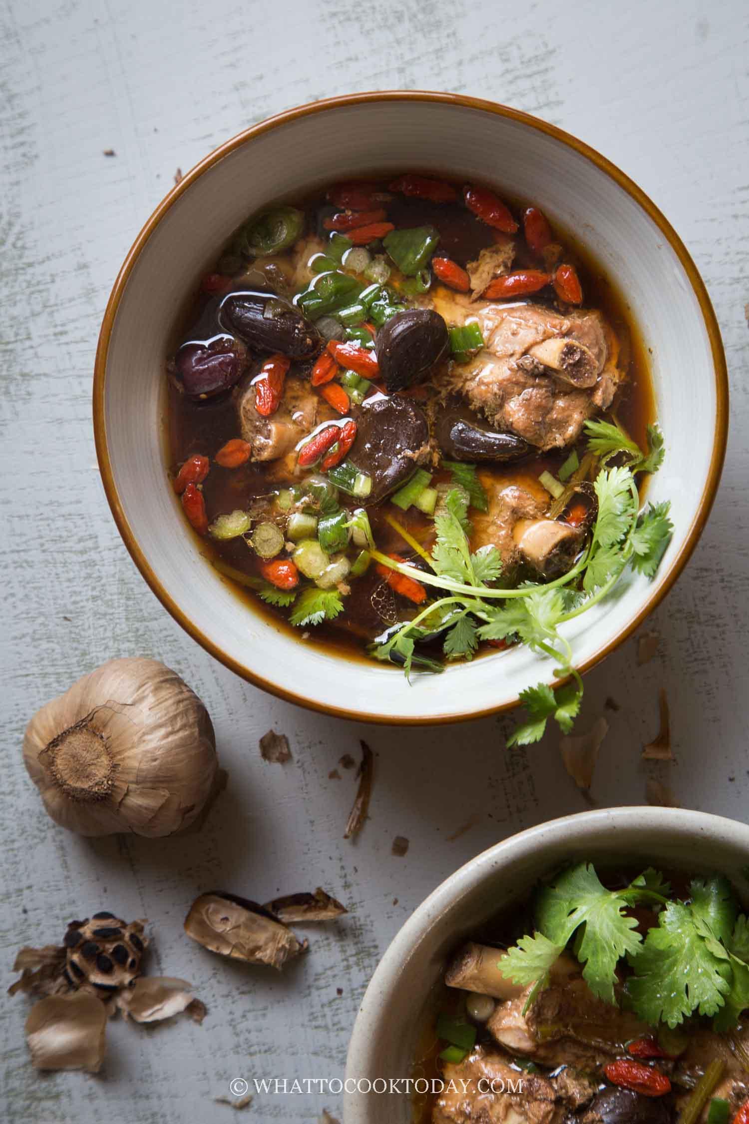 Pressure Cooker Black Garlic Pork Ribs Soup