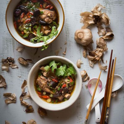 Pressure Cooker Black Garlic Pork Ribs Soup