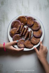 Okinawan Purple Sweet Potato Mochi Cakes with Peanut Fillings