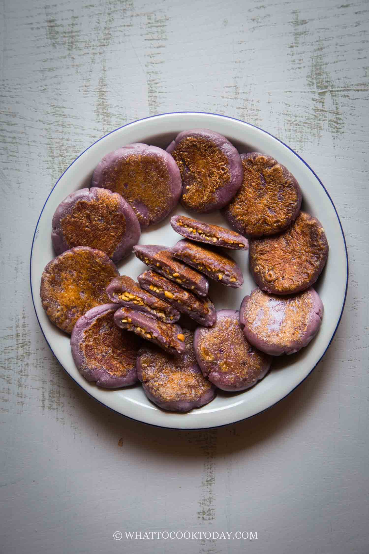 Okinawan Purple Sweet Potato Mochi Cakes with Peanut Fillings