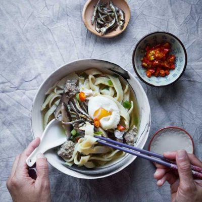 Ban Mian Minced Pork Noodle Soup (Flat Noodle Soup)