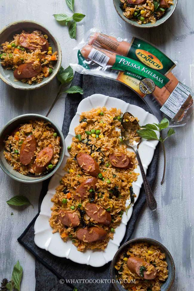 20-Minute Thai Red Curry Sausage Fried Rice AD #EckrichSmokedSausage
