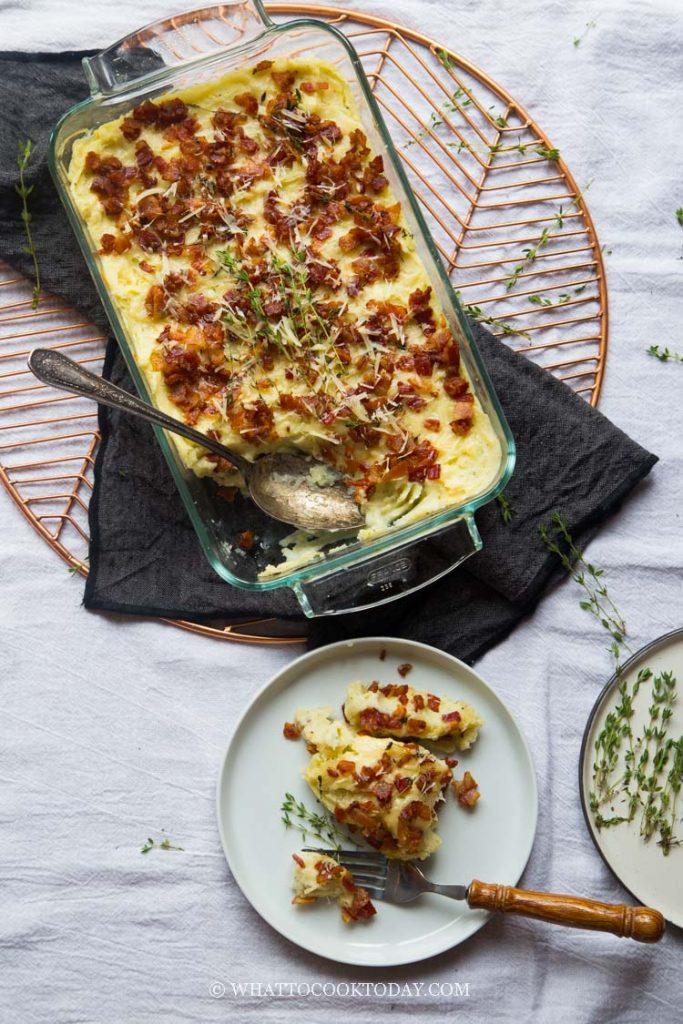 Super Easy Mashed Potatoes Bacon Thyme Gratin
