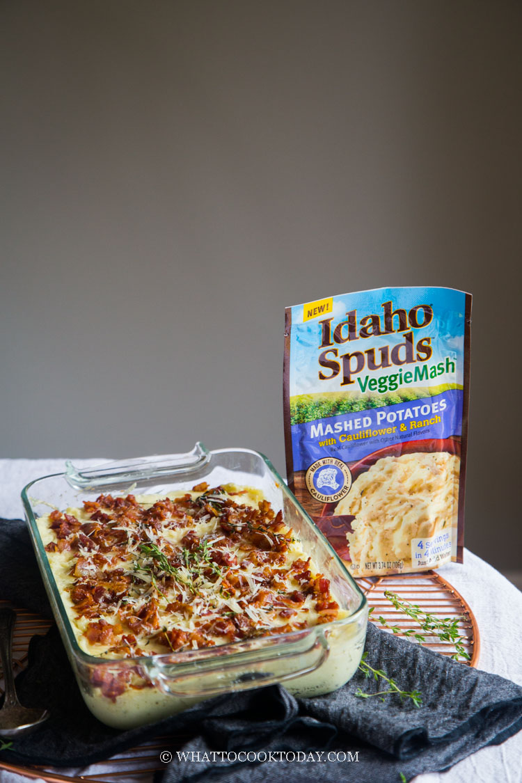 Super Easy Mashed Potatoes Bacon Thyme Gratin. This post is sponsored by Idaho Spuds #VeggieMash