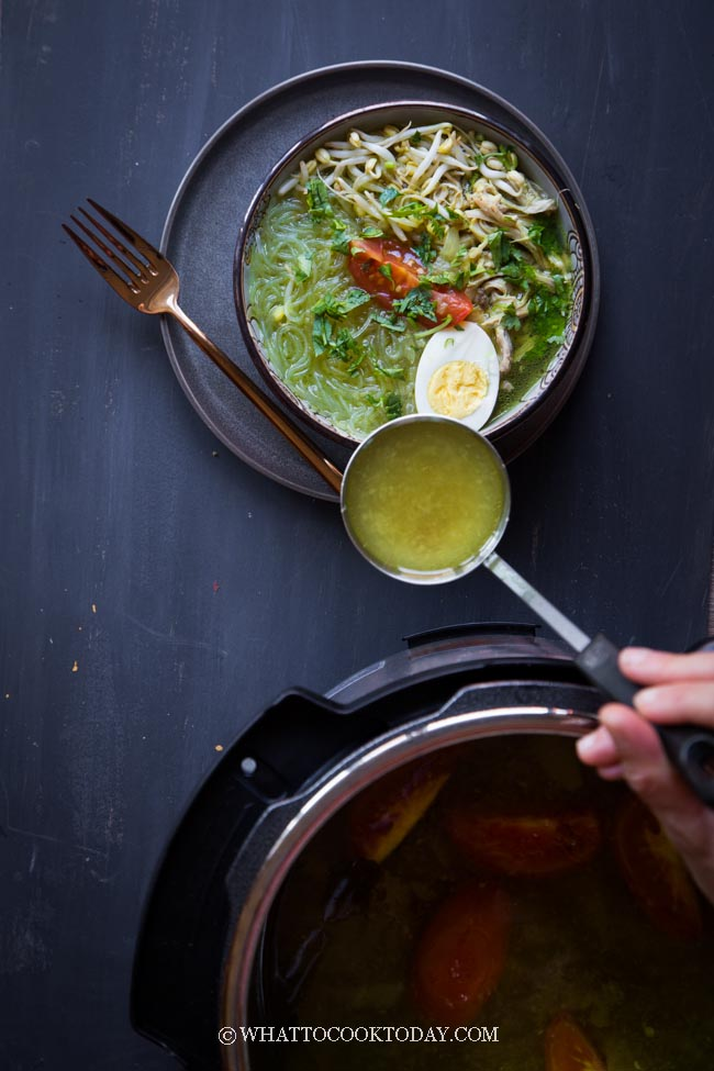 Soto Ayam Bening (Indonesian Clear Chicken Noodle Soup)