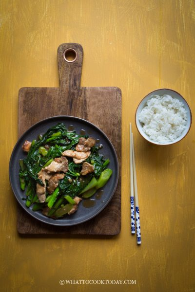 Stir-fried Gai Lan with Pork (Chinese Broccoli)