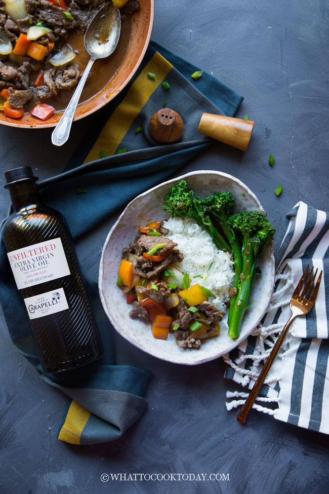 This post is sponsored by Carapelli. Chinese Five-Spice Sizzling Steak Stir-fry Rice Bowl is made with thinly sliced steak infused with aromatic Chinese five-spice powder and stir-fried with a savory sauce. A quick, easy, and tasty meal for any day of the week.
