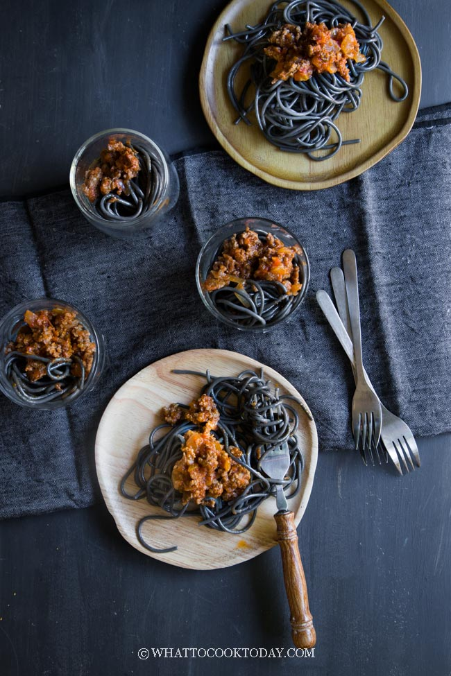 Halloween Squid Ink Spaghetti Worms with Bolognese