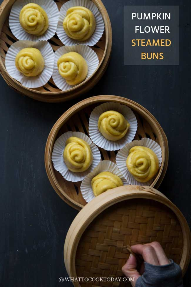Pumpkin Flower Steamed Buns. Learn how to make this incredibly soft, fluffy, and lightly sweetened steamed buns infused with the flavor of mashed pumpkin and shaped into flowers.