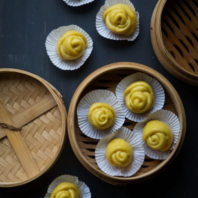 Pumpkin Flower Steamed Buns