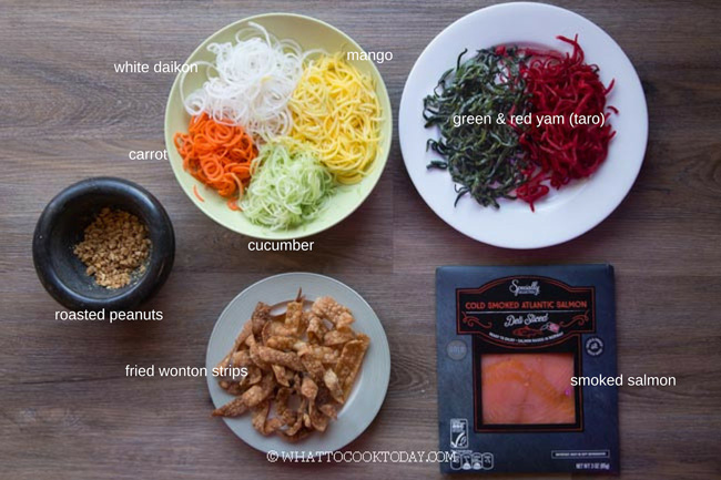 Ingredients for yu sheng
