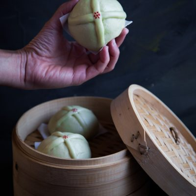 Easy Steamed Pandan Hot Cross Buns