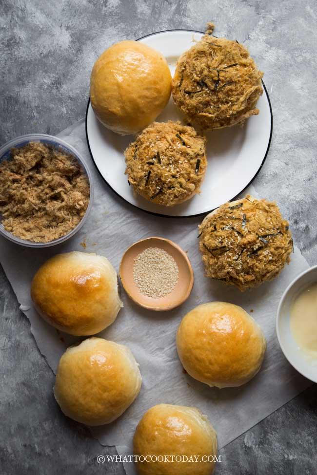 Super Soft Pork Floss Buns (Tang Zhong Method)