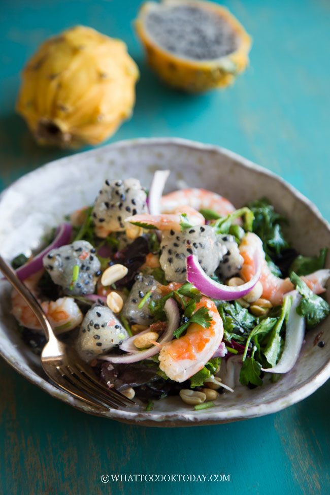 Shrimp Dragon Fruit Salad with Sesame Plum Dressing