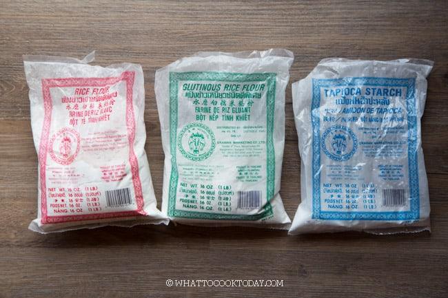 rice flour, glutinous rice flour, tapioca flour