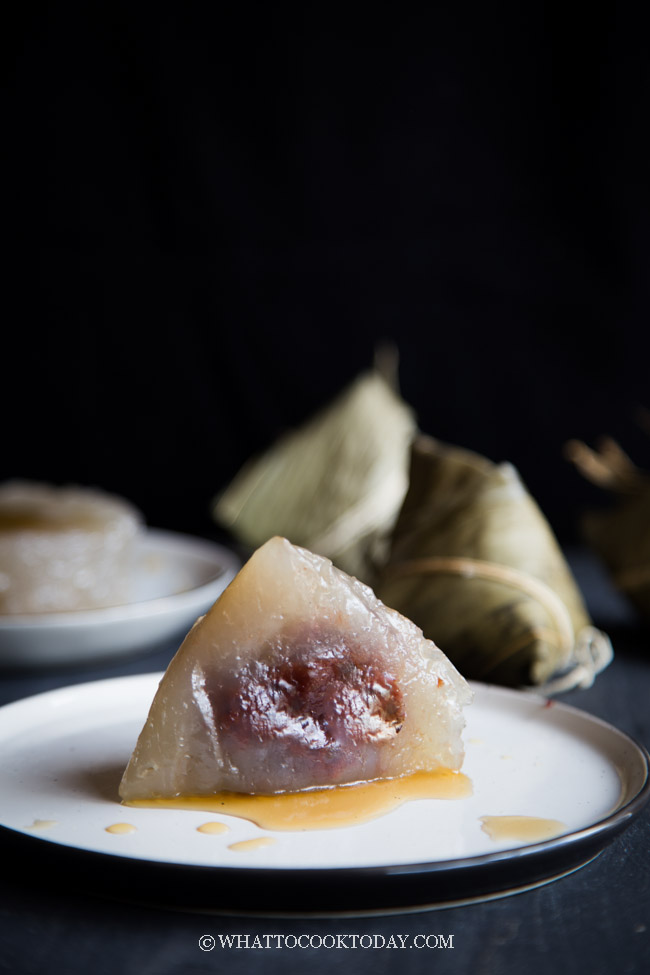Sago Crystal Dumplings (Sago Zongzi) with Red Bean Paste