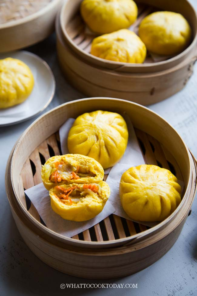 Carrot Vegetable Steamed Buns (color from carrot juice)