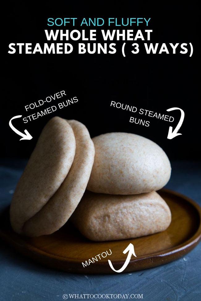 Soft and Fluffy Chinese Whole Wheat Mantou (3 ways)