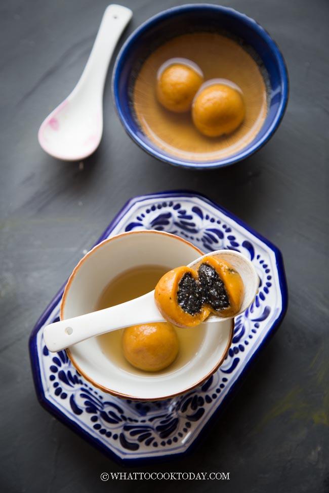 Pumpkin Tang Yuan (with Sweet Black Sesame Filling)