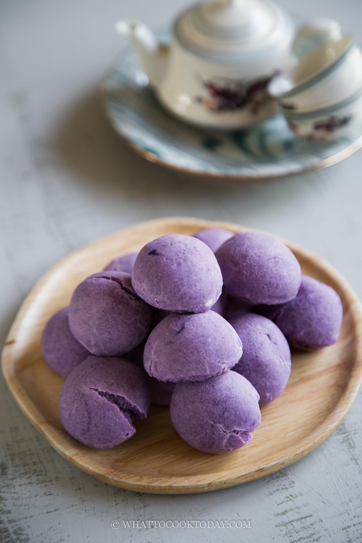 Easy No-Yeast Purple Sweet Potato Mochi Bread (Eggless)