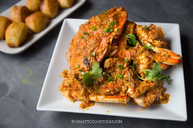 Singapore Chili Crab with Fried Mantou (Homemade Sauce)
