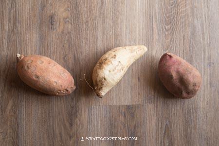Orange, purple, yellow sweet potatoes