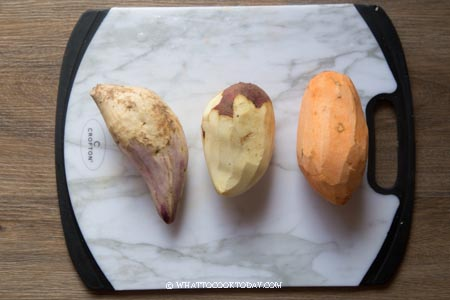 purple, yellow, and orange sweet potatoes