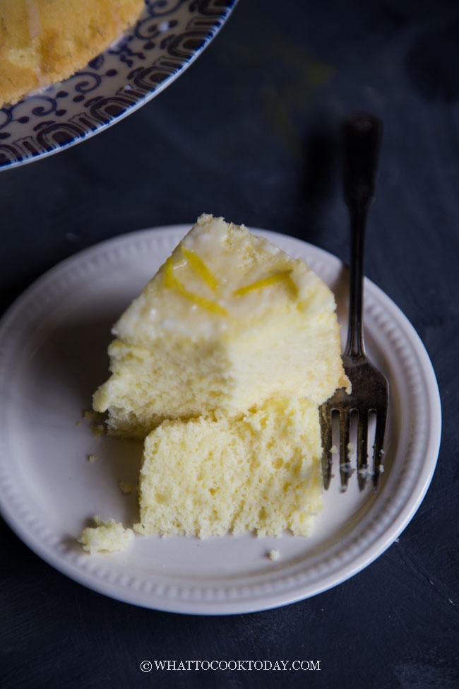 Soft Fluffy Lemon Chiffon Cake (with Quick Lemon Glaze)