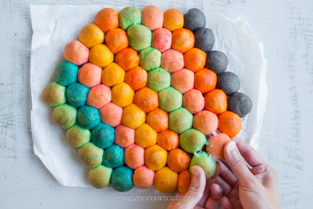 Soft Fluffy Pop It Rainbow Bubble Bread