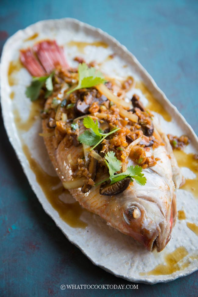 Chinese Steamed Whole Fish with Preserved Radish and Mushroom