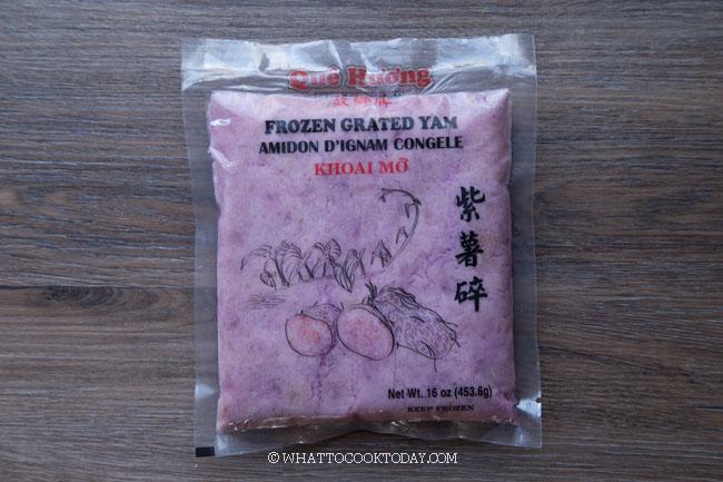 frozen grated ube (purple yam)
