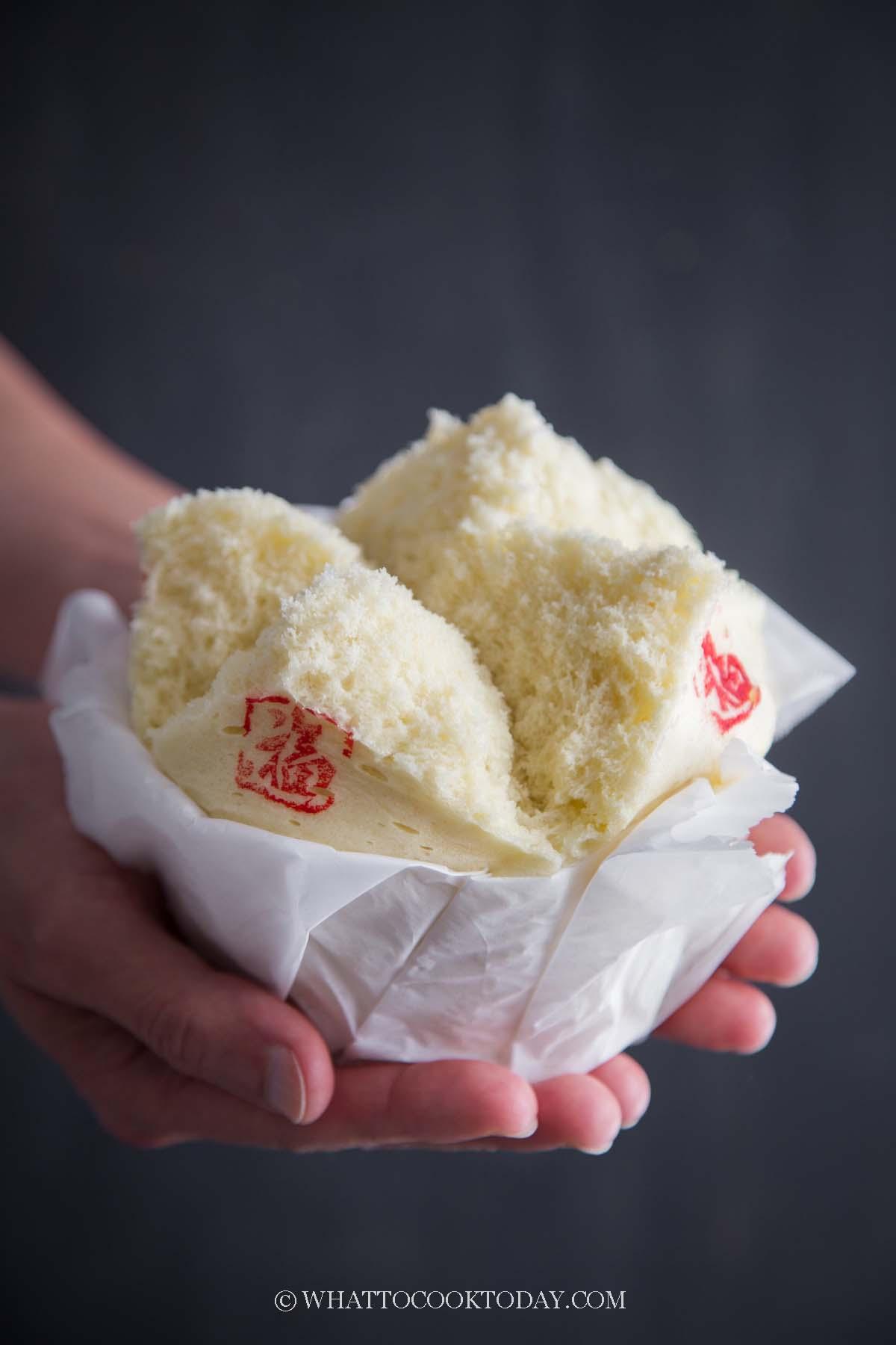 Traditional Ji Dan Gao / Kueh Neng Ko (Chinese Steamed Egg Sponge Cake)
