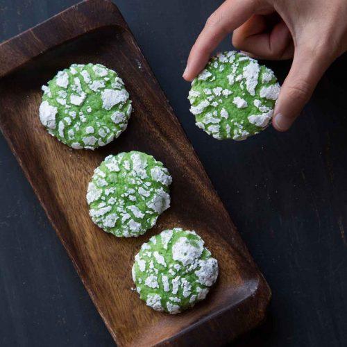 Pandan Cream Cheese Crinkle Cookies