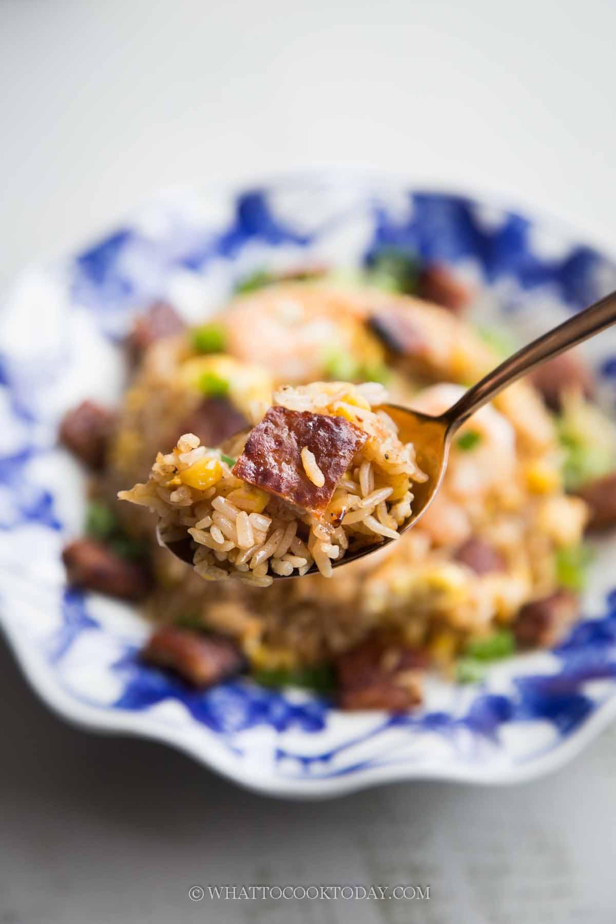 Easy Bak Kwa Fried Rice (Chinese Meat Jerky Fried Rice)