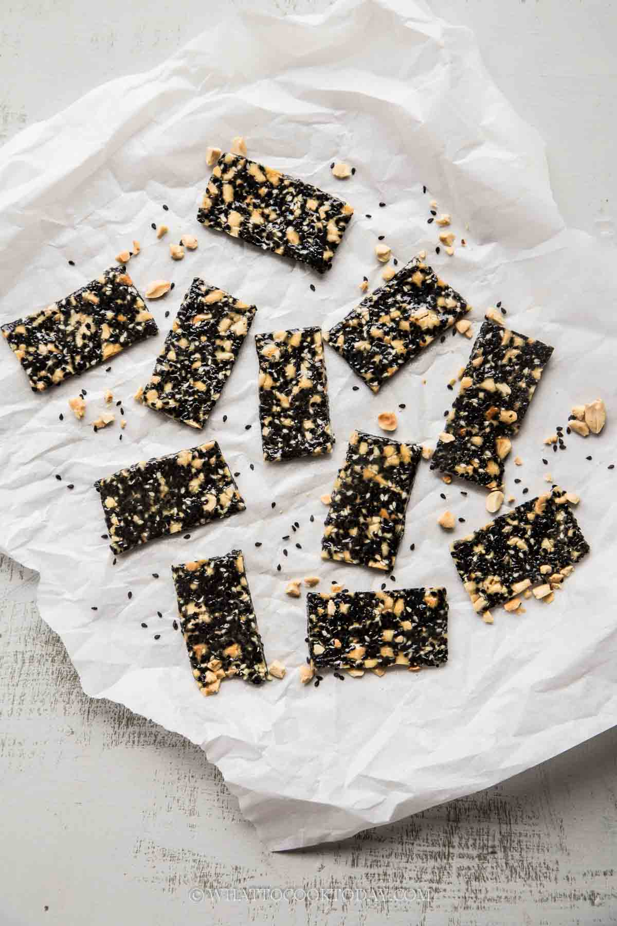 Easy Black Sesame Peanut Candy (Soft and Chewy)