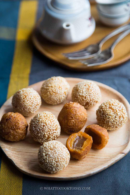 Fried Nian Gao Sweet Potato Balls