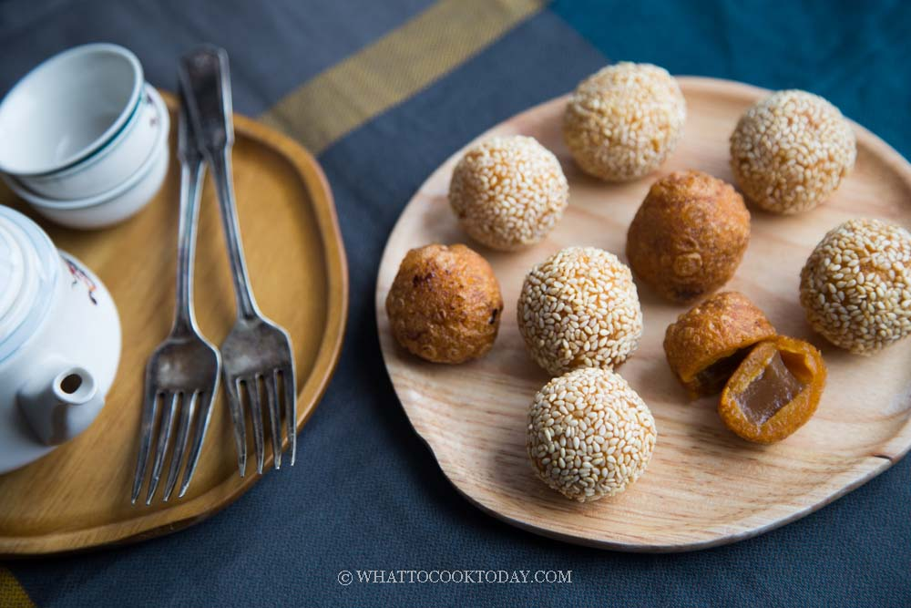 Fried Nian Gao Sweet Potato Balls