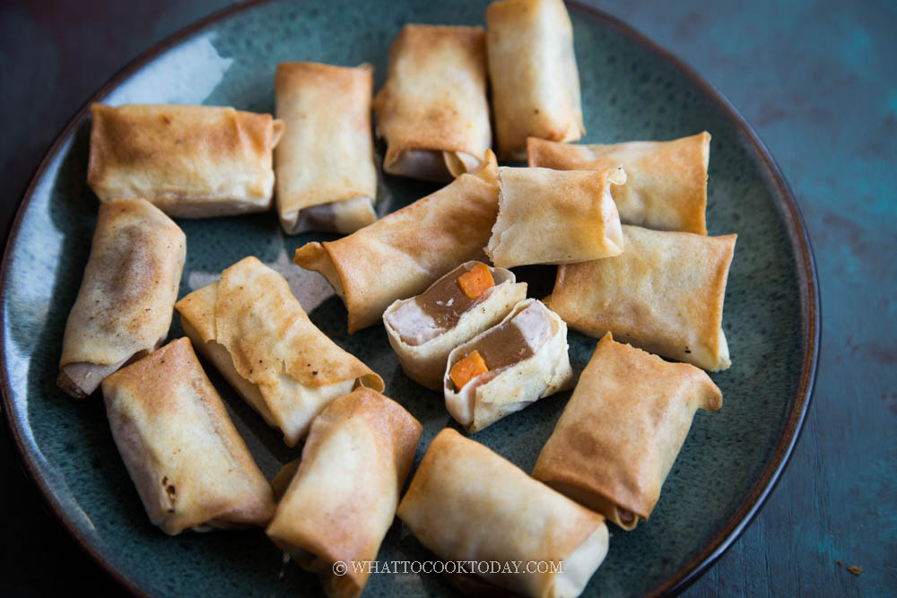Fried Nian Gao, Taro, Sweet Potato Spring Rolls (Air-Fryer Version)